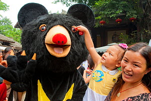 Child interacting with person dressed as a Moon bear during the Animals Asia Foundation Moon Bear Festival, part of the charity's campaign to educate people about Moon bears (Ursus thibetanus) in bile...  -  Inaki  Relanzon