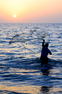 Fisherman throwing net into the sea in traditional way at sunset, Orango Island, Bijagos UNESCO Biosphere Reserve, Guinea Bissau, February 2015. - Enrique Lopez-Tapia