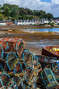 Stacked lobster creels / traps on quay in the Plockton Harbour, Scottish Highlands, Scotland, UK, September 2016  -  Philippe Clement