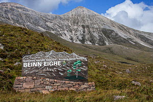Sign at entrance of the Beinn Eighe National Nature Reserve near Kinlochewe, Torridon, Scottish Highlands, Scotland, UK, September - Philippe Clement