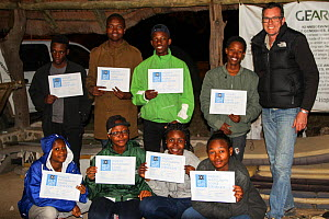 Pupils with certificates. Picture taken by Prisence Mashaba during residential photography course organised by Wild Shots Outreach. Kruger National Park, South Africa, June 2017.  -  Wild Shots Outreach
