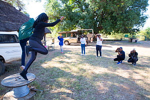 Pupils taking during residential photography course organised by Wild Shots Outreach. Kruger National Park, South Africa, June 2017.  -  Wild Shots Outreach