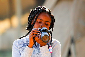 Student Tharollo Shaai taking pictures during Wild Shots Outreach Residential Course. Kruger National Park, South Africa. June 2017.  -  Wild Shots Outreach