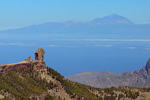Roque Nublo, a 90m tall volcanic monolith, with El Teide volcano on Tenerife in the background, Gran Canaria UNESCO Biosphere Reserve, Gran Canaria. Canary Islands. May 2016.  -  Nick Upton
