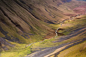 Meandering stream in u-shaped valley, High Cup, Appleby in Westmorland, Cumbria, England, UK, March 2017. - Graham Eaton
