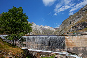 Water rushing over the Barrage d'Ossoue dam at the head of the Ossoue Valley, Pyrenees National Park, France, July 2015.  -  Mike Read