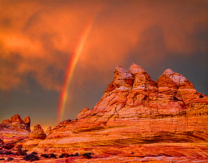 Rainbow over petrified sand dunes at sunset, Vermilion Cliffs National Monument, Paria Canyon-Vermilion Cliffs Wilderness, Arizona, USA. - Jack Dykinga