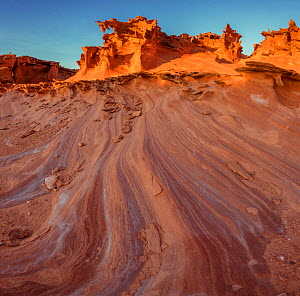 Eroded salt laden sandstone 'fins' in incredible sculpted forms comprise an area know as 'Little Finland.' Gold Butte National Monument, Nevada, USA. President Barack Obama designated the monument on...  -  Jack Dykinga