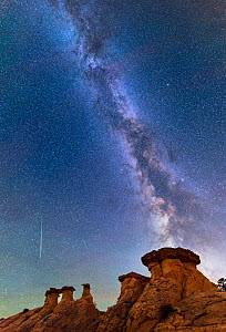 Hoodoo cap sandstone rock formations with milky way above and meteor shower, Escalante canyon walls, Grand Staircase- Escalante National Monument , Utah, USA, October.  -  Jack Dykinga