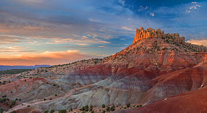 Landscape of eroded sandstone rock formations, Grand Staircase-Escalante National Monument, Utah, USA, October 2013. - Jack Dykinga