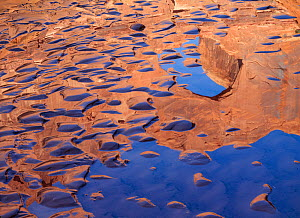 Stevens Arch reflected in the amid sand bar ripples Escalante Canyon, Canyon National Recreation Area, Utah, USA - Jack Dykinga