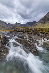 Waterfall on upland stream with Bruach na Frithe and Cuillins in background, Fairy Pools, Glen Brittle, Isle of Skye, Scotland, UK, October 2016. - SCOTLAND: The Big Picture
