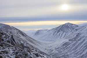 View along Lairig Ghru pass through Cairngorm Mountains with Cairn Toul peak on right, Cairngorms National Park, Scotland, UK, December 2015. - SCOTLAND: The Big Picture