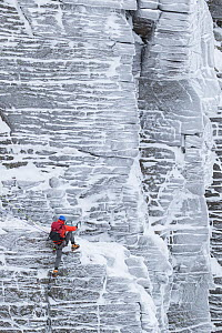 Climber in red jacket on vertical rock face in winter, Northern Corries, Cairngorms National Park, Scotland, UK, December 2015. - SCOTLAND: The Big Picture