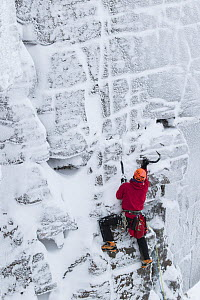 Climber wearing red jacket on vertical rock face in winter, Northern Corries, Cairngorms National Park, Scotland, UK, December 2015. - SCOTLAND: The Big Picture