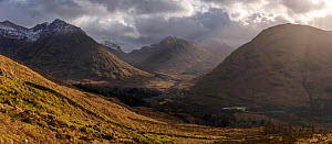 Mountains with shaft of light coming through clouds, Glencoe, Scotland, February 2017.  -  SCOTLAND: The Big Picture