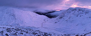 Snow covered mountains including Pap of Glencoe with Loch Leven in distance, Meall Dearg, Glencoe, Scotland, February 2017.  -  SCOTLAND: The Big Picture