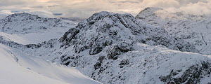 Am Bodach towering in the Aonach Eagach ridge, from Meall Dearg, Glen Coe, Scotland, UK, February 2017.  -  SCOTLAND: The Big Picture