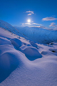 Moonrise above Ben Cruachan and Stob Diamh with snowdrift in foreground, Scotland, UK, February 2017.  -  SCOTLAND: The Big Picture
