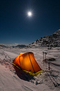 Winter camping in mountains with moonrise above, near Ben Cruachan and Stob Diamh, Southern Highlands, Scotland, UK, February 2017. - SCOTLAND: The Big Picture