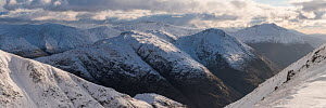 Mountains in winter from Buachaille Etive Beag, Lochaber, Scotland, UK, February 2017.  -  SCOTLAND: The Big Picture