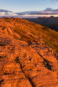 Sgurr cos na Breachd-laoidh in evening light with view towards Sgurr na Ciche, Knoydart, Lochaber, Scotland, UK, October 2016.  -  SCOTLAND: The Big Picture