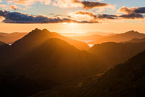 Knoydart and Loch Nevis from Sgurr Cos na Breachd-laoidh with sun shining through cloud, Lochaber, Scotland, UK, September 2016.  -  SCOTLAND: The Big Picture