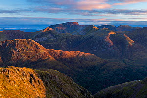 Ben Nevis and the Ring of Steall in the Mamores at sunrise from Sgorr nam Fiannaidh, Lochaber, Scotland, UK, October 2016.  -  SCOTLAND: The Big Picture