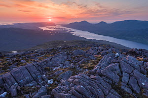 Sunset over Loch Maree from the summit of Meall a' Ghiuthais, with view to Beinn airigh charr on right and Loch Bhanamhoir on left, Torridon, Scotland, UK, June 2016.  -  SCOTLAND: The Big Picture