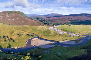 Aerial view of River Dee with some riparian vegetation flowing through moorland, Deeside, Cairngorms National Park, Scotland, UK, September 2016. - SCOTLAND: The Big Picture