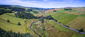 Aerial view of countryside where re-meandering of Eddleston Water has taken place to slow down water flow and reduce flooding. Part of the Eddleston Water Project led by Tweed Forum, Cringletie, Peebl... - SCOTLAND: The Big Picture