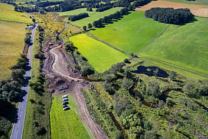Re-meandering / Flood management work to slow water flow of Eddleston Water. Part of the Eddleston Water Project led by Tweed Forum, Cringletie, Peebles, Tweedale, Scotland, UK, August 2016. - SCOTLAND: The Big Picture
