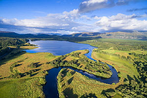 River Spey meandering through Insh Marshes into Loch Insh, Cairngorms National Park, Scotland, UK, August 2016.  -  SCOTLAND: The Big Picture