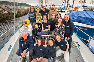 Research crew on yacht operated by By The Ocean We Unite Foundation, a Dutch charity exploring microplastics in the North Sea, Inverness, Scotland, UK,  June 2017  -  SCOTLAND: The Big Picture