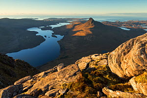 Stac Pollaidh and Loch Lurgainn with Achiltibuie and Summer Isles beyond, looking west from Cul Beag, Coigach, Wester Ross, Scotland, UK, December 2016  -  SCOTLAND: The Big Picture