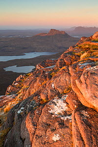 Stac Pollaidh, with Cul Beag and Cul Mor in background. View north from Sgurr an Fhidhleir, Coigach and Assynt Living Landscape, Wester Ross, Scotland, UK, November 2016 - SCOTLAND: The Big Picture