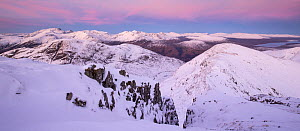 Aonach Eagach ridge looking south towards Blackwater Reservoir and across snow capped mountains of Mamores range. Glen Coe, Lochaber, Scotland, UK, November 2016 - SCOTLAND: The Big Picture