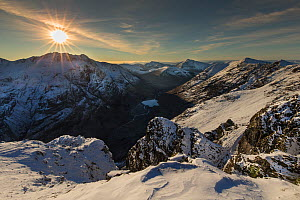 Sunset over snow covered mountains, view north west along Aonach Eagach ridge towards Glen Coe, Lochaber, Scotland, UK, November 2016 - SCOTLAND: The Big Picture