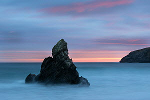 Rock stack at dawn, Durness Beach, Sutherland, Scotland, UK, December 2016  -  SCOTLAND: The Big Picture