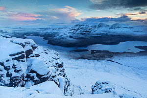 Ben Mor Coigach at sunset, viewed from Stac Pollaidh, Assynt, Wester Ross, Scotland, UK, November  -  SCOTLAND: The Big Picture