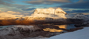 Inverpolly Forest and Cul Mor, with Canisp on left from flanks of Stac Pollaidh, in evening light, Coigach & Assynt, Wester Ross, Scotland, UK, November 2016.  -  SCOTLAND: The Big Picture