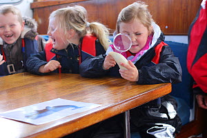 Children studying whale tooth in the floating classroom aboard the Hebridean Whale and Dolphin Trust survey and teaching boat 'Silurian' Port Ellen, Islay, Inner Hebrides, Scotland, UK, April 2016.