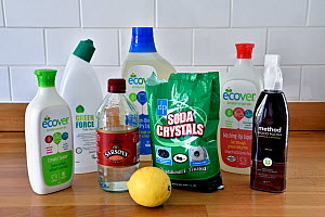 Environmentally friendly household cleaning products on kitchen work surface. London, UK - Pat  Tuson
