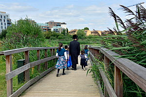 Jewish family walking along broadwalk, Woodberry Wetlands, formally Stoke Newington East Reservoirs. The reserve is managed by the London WildlifeTrust Trust and owned by Thames Water, London Borough...  -  Pat  Tuson