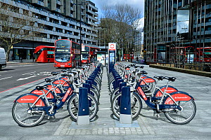 Santander Cycles or Boris Bikes, bicycle hire scheme docking station, corner of Hampstead Road and Euston Road, Camden, England, Britain, UK, March 2016.  -  Pat  Tuson