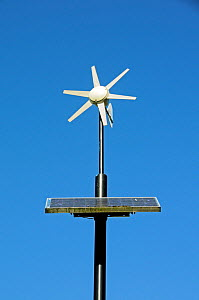 Wind and solar powered lamppost, Mile End Park, London Borough of Tower Hamlets, England, UK, March 2014.  -  Pat  Tuson