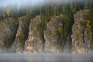 Cliffs in the Virgin Komi Forests UNESCO World Heritage site, the largest virgin forests in Europe. Ural Mountains, Komi Republic, Russia. August 2016 - Igor  Shpilenok