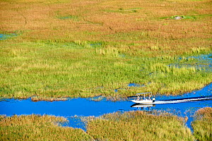 Aerial view of boat cruising on a channel of the Okavango delta, Botswana  -  Eric Baccega