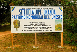 Sign for Ecosystem and Relict Cultural Landscape of Lopé-Okanda UNESCO World Heritage Site, Gabon. - Enrique Lopez-Tapia