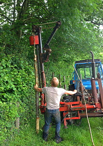 Men erecting fence to keep deer out, Rookery Wood, Sussex, England, UK, June 2013. Medium repro only - Stephen  Dalton